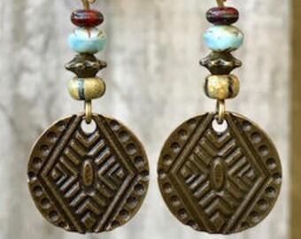Turquoise Earrings, Bohemian Earrings, Bohemian Jewelry, Bronze Earrings, Ethnic Earrings, Tribal Earrings, Rustic Earrings, Earthy Earrings