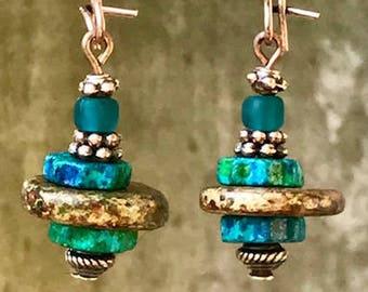 Turquoise Copper Earrings, Boho Jewelry, Bohemian Jewelry, Boho Earrings, Bohemian Earrings, Rustic Earrings, Statement Earrings, for her
