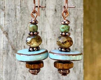 Copper Earrings, Blue Earrings, Turquoise Earrings, Ceramic Earrings, Czech Glass Earrings, Rustic Earrings, Ethnic Earrings, Earthy