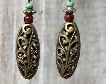 Red Earrings, Turquoise Earrings, Bronze Earrings, Boho Earrings, Victorian Earrings, Rustic Earrings, Gothic Earrings, Bohemian Earrings