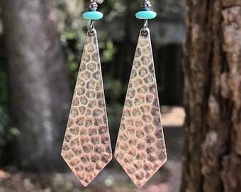 Turquoise Earrings, Silver Earrings, Gunmetal Earrings, Bohemian Earrings, Ethnic Earrings, Rustic Earrings, Boho Earrings, Ethnic Earrings