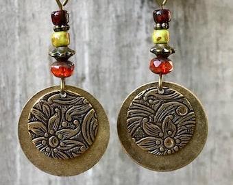Red Earrings, Yellow Earrings, Bronze Earrings, Coin Earrings, Boho Earrings, Ethnic Earrings, Rustic Earrings, Etched Earrings, Gypsy