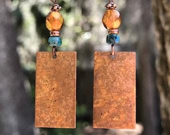 Turquoise Earrings, Copper Earrings, Orange Earrings, Boho Earrings, Bohemian Earrings, Rustic Earrings, Patina Earrings, Gypsy Earrings