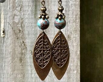 Bronze Earrings, Turquoise Earrings, Rustic Earrings, Ethnic Earrings, Tribal Earrings, Earthy Earrings, Boho Earrings, Bohemian Earrings