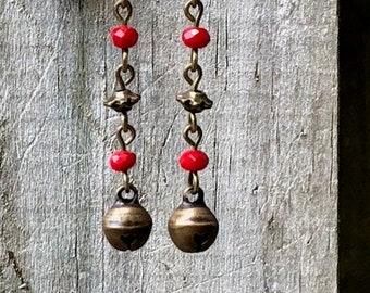 Bronze Earrings, Bell Earrings, Red Earrings, Rustic Earrings, Nature Earrings, Tribal Earrings Ethnic Earrings, Earthy Earrings, Gypsy