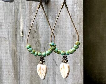 Bronze Earrings, Turquoise Earrings, Leaf Earrings, Rustic Earrings, Ethnic Earrings, Tribal Earrings, Earthy Earrings, Festival Earrings