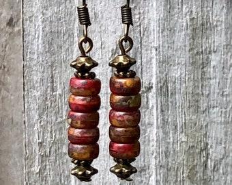 Bronze Earrings, Red Earrings, Rustic Earrings, Ethnic Earrings, Tribal Earrings, Earthy Earrings, Tiny Earrings, Brown Earrings, Bohemian
