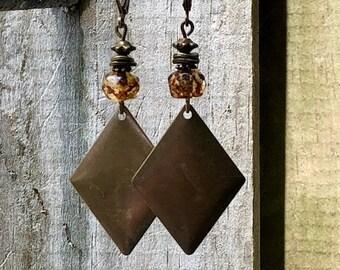 Amber Earrings, Bronze Earrings, Rustic Earrings, Boho Earrings, Ethnic Earrings, Tribal Earrings, Earthy Earrings, Patina Earrings