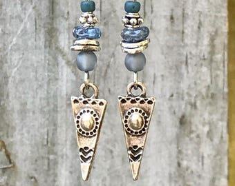Silver Earrings, Blue Earrings, Rustic Earrings, Ethnic Earrings, Tribal Earrings, Boho Earrings, Lightweight Earrings, Triangle Earrings