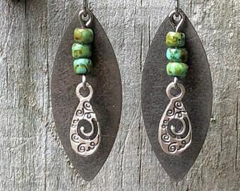 Silver Earrings, Turquoise Earrings, Rustic Earrings, Boho Earrings, Ethnic Earrings, Tribal Earrings, Metal Earrings, Lightweight Earrings