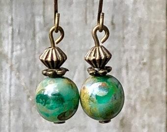 Bronze Earrings, Green Earrings, Rustic Earrings, Ethnic Earrings, Tribal Earrings, Earthy Earrings, Tiny Earrings, Lightweight Earrings