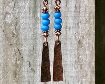 Copper Earrings, Blue Earrings, Bohemian Earrings, Earrings, Rustic Earrings, Tribal Earrings, Ethnic Earrings, Boho Earrings, Earthy