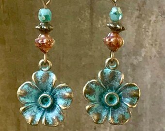 Flower Earrings, Bronze Earrings, Patina Earrings, Turquoise Earrings, Boho Earrings, Rustic Earrings, Nature Earrings, Earthy Earrings