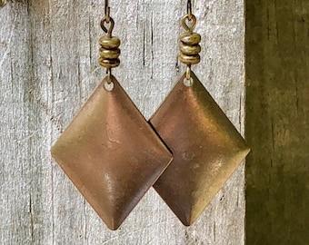 Green Earrings, Bronze Earrings, Rustic Earrings, Boho Earrings, Ethnic Earrings, Tribal Earrings, Earthy Earrings, Patina Earrings