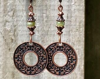 Copper Earrings, Green Earrings, Bohemian Earrings, Rustic Earrings, Tribal Earrings, Ethnic Earrings, Boho Earrings, Earthy Earrings