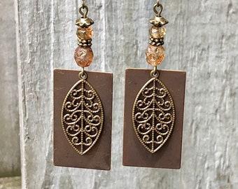 Bronze Earrings, Amber Earrings, Rustic Earrings, Nature Earrings, Tribal Earrings Ethnic Earrings, Earthy Earrings, Boho Earrings