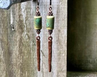 Copper Earrings, Green Earrings, Ceramic Earrings, Rustic Earrings, Boho Earrings, Earthy Earrings, Nature Earrings, Long Earrings