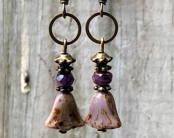 Bronze Earrings, Purple Earrings, Flower Earrings, Rustic Earrings, Ethnic Earrings, Tribal Earrings, Earthy Earrings, Lightweight Earrings