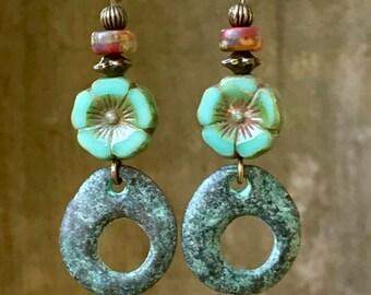 Flower Earrings, Turquoise Earrings, Bronze Earrings, Patina Earrings, Brown Earrings, Boho Earrings, Rustic Earrings, Ethnic Earrings