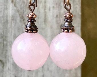 Pink Copper Earrings, Boho Jewelry, Bohemian Jewelry, Boho Earrings, Bohemian Earrings, Rustic Earrings, Statement Earrings, for her