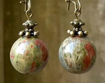 Green Earrings, Unakite Earrings, Bronze Earrings, Brown Earrings, Boho Earrings, Rustic Earrings, Nature Earrings, Rust Earrings, Earthy