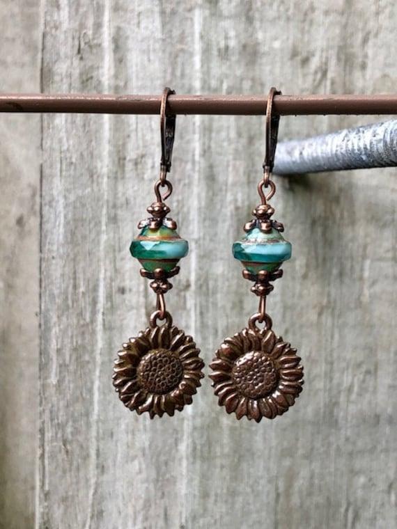 Hoop Earrings Czech Glass Burnt Orange Earrings Rustic Earrings Copper Earrings Boho Earrings Olive Green Earrings Flower Earrings