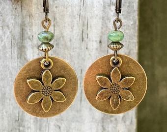 Flower Earrings, Bronze Earrings, Green Earrings, Nature Earrings, Boho Earrings, Gypsy Earrings, Festival Earrings, Lightweight Earrings