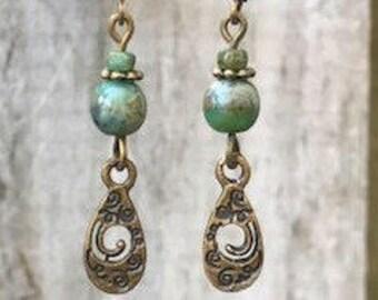 Green Earrings, Bohemian Earrings, Bohemian Jewelry, Bronze Earrings, Boho Earrings, Ethnic Earrings, Rustic Earrings, Tribal Earrings