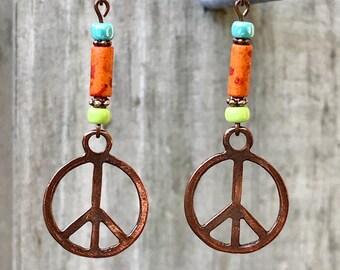Copper Earrings, Orange Earrings, Peace Sign Earrings, Rustic Earrings, Boho Earrings, Ethnic Earrings, Tribal Earrings, Earthy Earrings