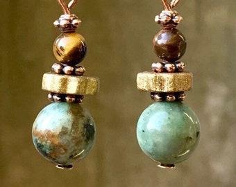 Copper Earrings, Turquoise Earrings, Tigereye Earrings, Ceramic Earrings, Rustic Earrings, Boho Earrings, Ethnic Earrings, Earthy Earrings