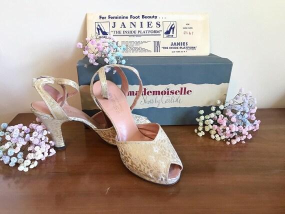 1950's Peep Toe Ivory Mademoiselle Heels