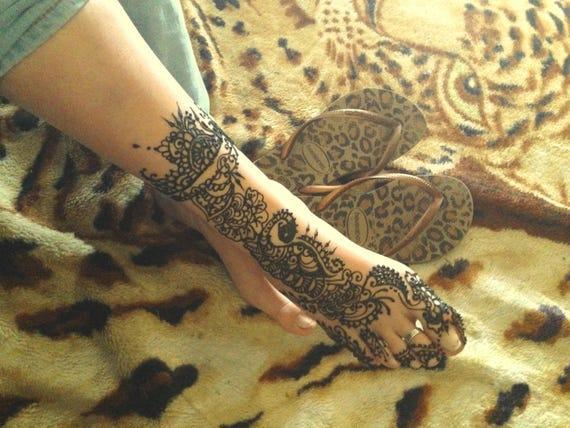 Floral 3b Henna Jagua Tattoo Stencil Carbon Thermal Etsy