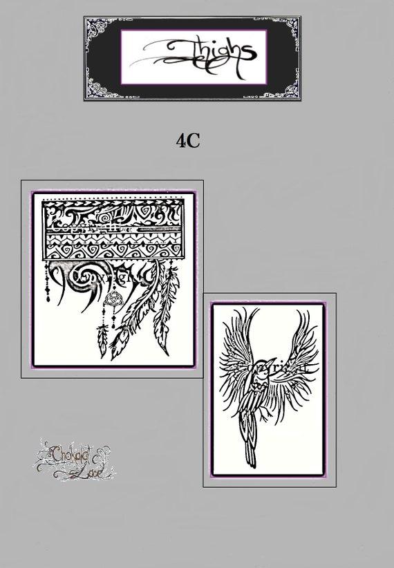 1aebc24fdf5c6 Thighs 4C Jagua Henna Tattoo stencil arm band | Etsy