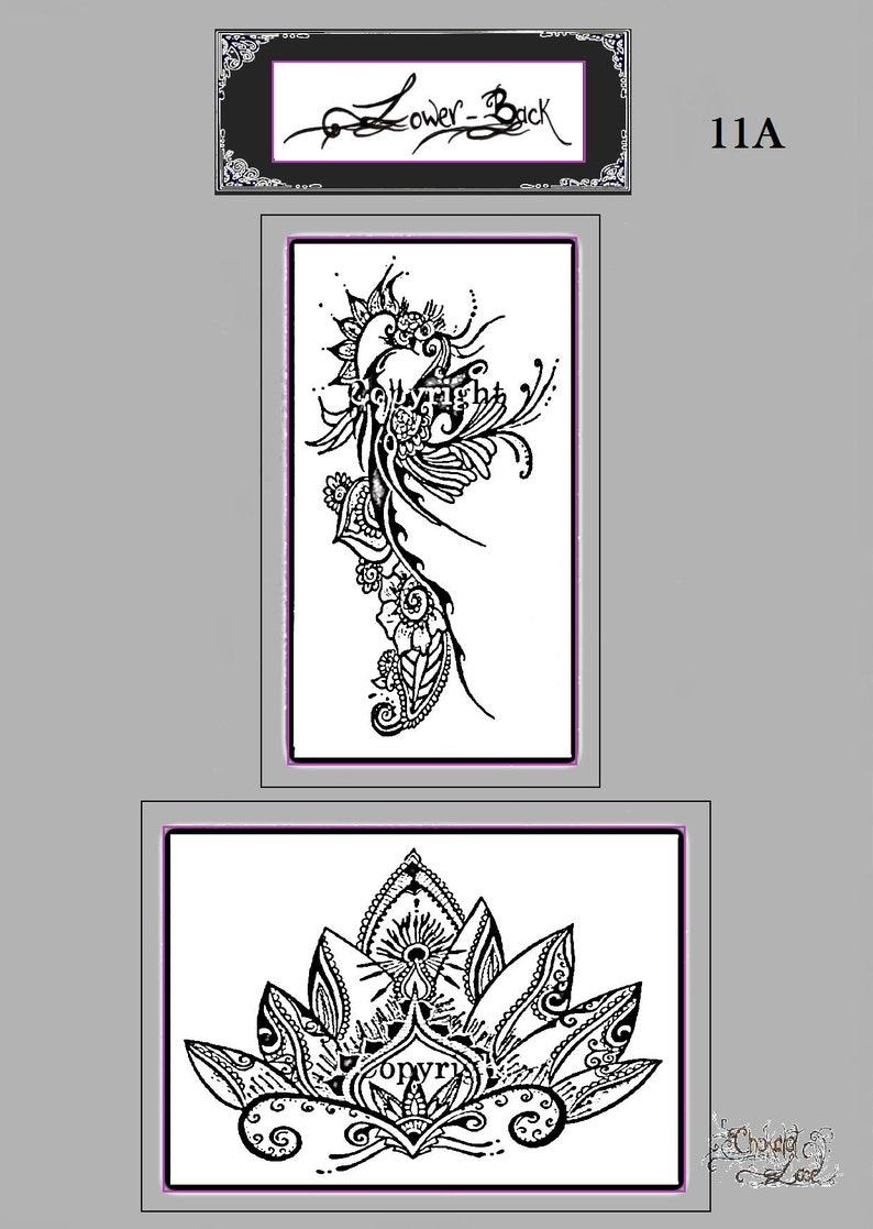 c3b880c06f062 Lower Back 11A Henna tattoo Stencils Vegan carbon | Etsy