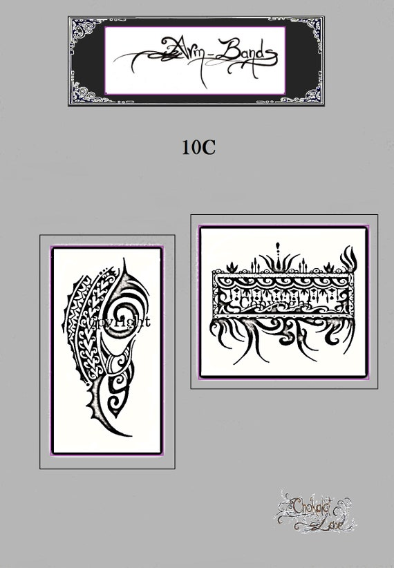 Arm Bands 10c Jagua Henna Tattoo Stencil Carbon Etsy