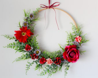 Wedding Wreath. Roses. Floral Wreath. Nursery Decor. Timber. Vines. Ferns. Berries. Daisies. Gerberas. Foliage. Grass. Crimson Red.