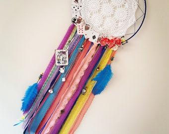 Rainbow Dreamcatcher. Disney. Alice in Wonderland. Colourful. Lacey. Doily Dreamcatcher. Crochet Dreamcatcher. Girly Wall Hanging. Wedding