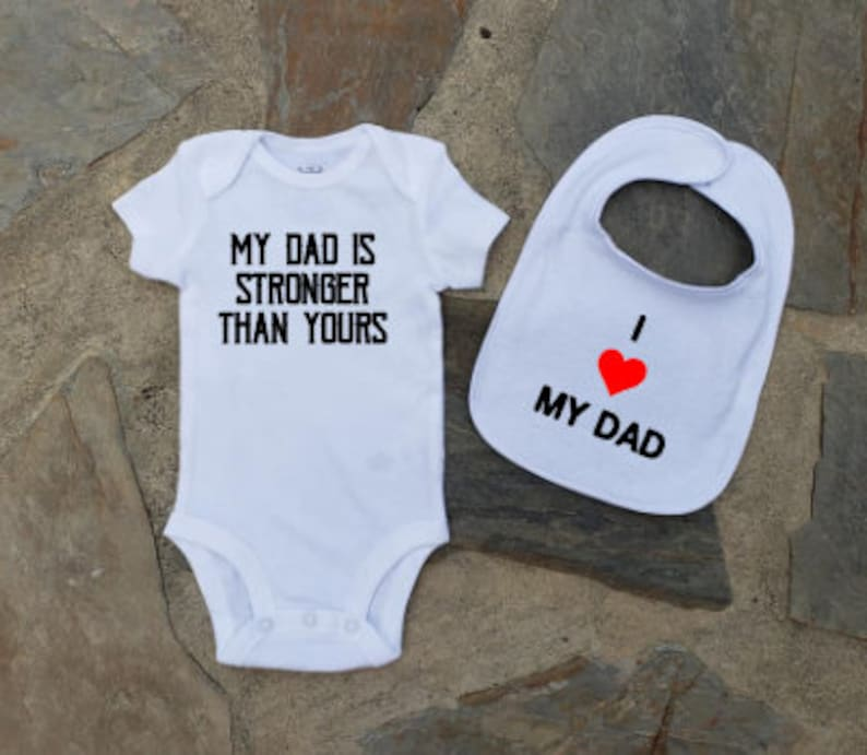 ca277881b My Dad is Stronger Than Yours Gift Set Onesie and Bib Set My