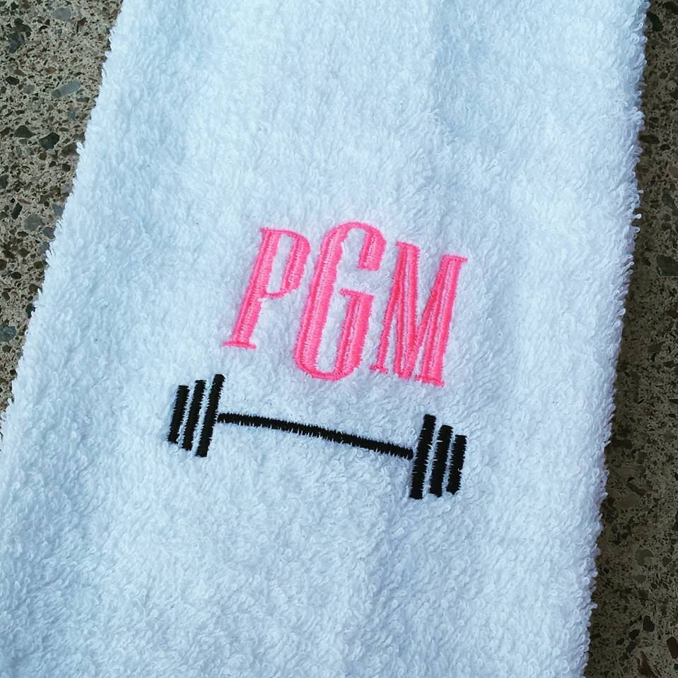 Personalized Sweat Towel: Monogrammed Barbell Sweat Towel Monogrammed Gym Towel
