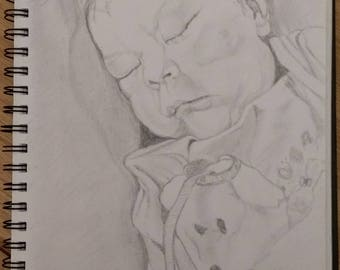 Original custom hand drawn pencil baby portrait