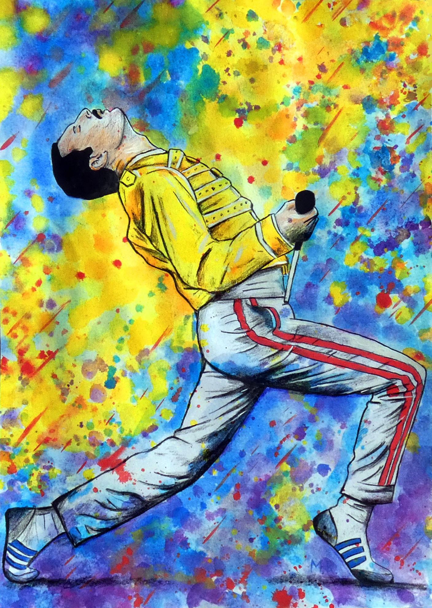 Freddie Mercury / Watercolor Pencil Ink on Paper / Wall Art / | Etsy