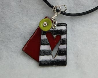 Enameled Heart Charm Pendant Necklace