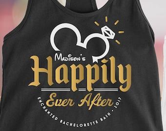 398e9e494 Disney Bachelorette party tank top / Happily ever after / Disney wedding /  Bridal party t shirt / Destination wedding