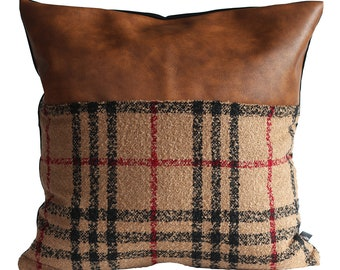 Designer Faux Leather Pillow Cover Kdays Tartan Brown Check Pillow Cover Decorative  Throw Pillow Case Handmade Cushion Covers Brown Cushion 6aaae605942a