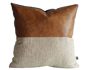Designer Faux Leather Pillow Cover Kdays Halftan Pillow Cover Decorative  For Couch Throw Pillow Case Handmade Cushion Covers Brown Cushion