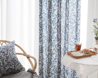 Pair Of Floral Tencel Rayon Curtains Blue Curtain Panels Linen Drapes Soft And Natural Kitchen Custom