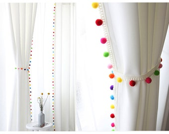 Marvelous Pom Pom Blackout Curtains, Kids Blackout Curtains, White Blackout Curtains, Curtains  Nursery, Bedroom Curtains, Tassel Curtains