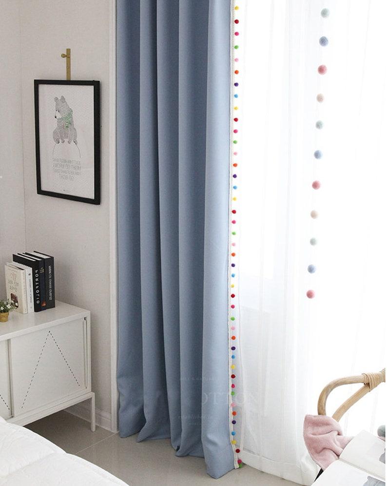 Pom Pom Vorhänge in 5 Farben, Kinder Vorhänge, Kinderzimmer-Vorhänge,  Gardinen Kinderzimmer, Schlafzimmer Vorhänge, Quaste Vorhang
