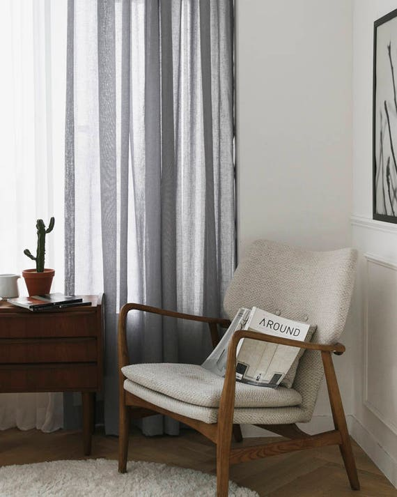 Grey Sheer Curtains Voile Sheers Voile Drapery Curtains Dark Gray Linen Look Sheer Curtains Window Sheers Linen Sheers Custom Curtains