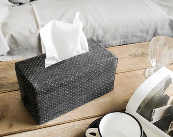Polka Dot Denim Fabric Rectangle Tissue Box Cover Tissue Cover Kleenex Box Cover Wedding Gift Shower Gift Office Decor Under 10 Gift